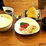 魚眞 - お刺身定食(アジフライ付)1,100円
