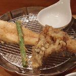 天ぷらめし 金子半之助  - 穴子、舞茸、インゲン
