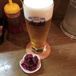 らーめん・手のし餃子 池之端 松島 - 生ビール(450円)とお通し