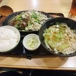 武州うどんあかねandみどりダイニング - ハンバーグ定食 ネギ塩(\880)