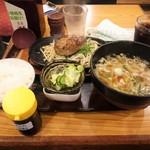 武州うどんあかねandみどりダイニング - ハンバーグ定食 わさび醤油(\885)