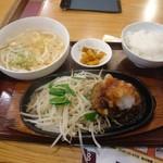 武州うどんあかねandみどりダイニング - 日替わりハンバーグ定食 黒酢おろし(\770)