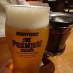 媽媽やバル Avanti - 生ビール(529円)とホットウーロン(356円)
