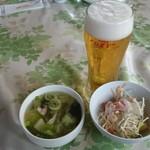 チョムパイ - 2016/09/11 11:30訪問 生ビール、 スープ&サラダ