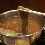 まにん - 黒豚しゃぶすきランチ(2,000円)蕎麦をしゃぶしゃぶ