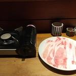 まにん - 黒豚しゃぶすきランチ(2,000円)携帯コンロと豚登場!