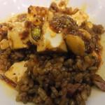 62736129 - 黒炒飯に海鮮入り陳麻婆豆腐をかけて
