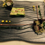 四間道レストランマツウラ - 素敵なガラス皿の上のテリーヌ