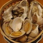 貝の籠蒸し
