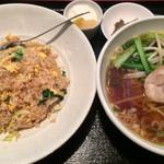 龍泉飯店 - 鮭チャーハン+半ラーメン ¥950