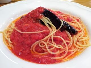 カスタネット - ランチ:なすとトマトの赤唐辛子入りスパゲティ