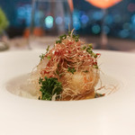 レストラン・ブリーズ・ヴェール - 真鱈のブランダードと海老、菜の花のクリープ、パルメサンチーズ添え