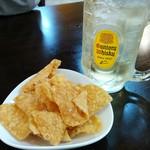 餃子酒場 栗ちゃん - 餃子皮チップスとハイボール
