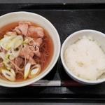 肉そば両国 - 肉そば500円+ごはん100円