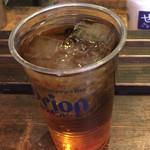 亀戸・養生料理 高の - フック¥280。焼酎の麦茶割り。飲兵衛向きに濃い目でした。