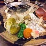 設楽 - 魚の蒸し物。2017.02芽キャベツのほろ苦い味が秀逸