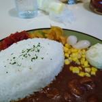 62820343 - 型抜きご飯とコーン。ポテサラ