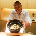 神楽坂 石かわ - ホタテと青菜の御飯