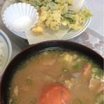 割烹 宝亭 - 明日葉天ぷらとお味噌汁