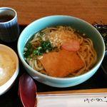 茶房 竹の子 - きつねうどんセット       +100円の玉子かけご飯バージョン