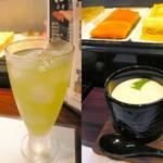 一斗五合 - 【ランチ】串揚げ丼セット(¥780)の茶碗蒸し。冷茶はグラスで提供して頂けます。