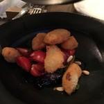 organ - 鱈のほほ肉のフリットと茄子、トマト、葉野菜のサラダ