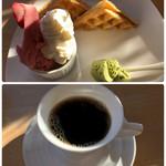 ソルベッチdoうきは  - ワッフルとコーヒーのセット 900円