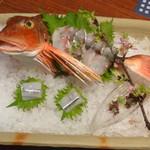 京都 瓢喜 - 造り(ほうぼう姿造りと細魚)