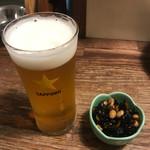 わら焼き部 - 乾杯ビール 小  付き出し