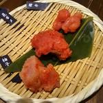 九州 熱中屋 - お通し からしめんたいこ3種