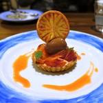62862444 - 愛媛県産ブラッドオレンジとオレンジクリームのタルト チョコレートのソルベット添え