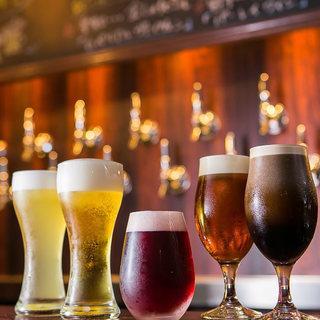 クラフトビールは樽変わりで10種♪ソムリエ厳選ワインも充実!