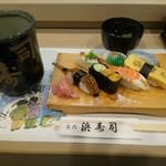 浜寿司 - ウニ 穴子 エンガワなど  合計 7貫 吸い物 、茶碗蒸し 付き