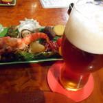 粥茶屋 写楽 - お通しとビール