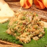 カパンナ - 旬の戻り真アジとほんのり梅肉生姜の欧風タタキ