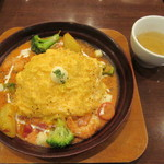 卵と私 - 海老とアボカドとモッツァレラチーズのトマトクリームオムライスドリア 1050円