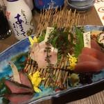 あいたか - ある日の「おまかせ刺し盛り3種」¥980
