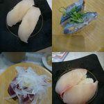 かっぱ寿司 - 左上から ひらまさ、さんま、かつお揚げたたきオニオンマヨ、ひらめ