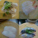 かっぱ寿司 - 左上から とろ〆さば、鮮極生えび、真いか、いわし