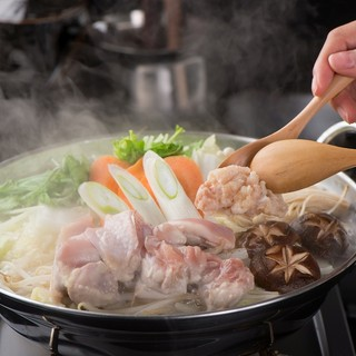 """2名様よりOK""""博多地鶏の水炊き鍋"""""""