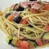 ECO - 料理写真:ベーコン・茄子・トマトのフレッシュパスタ