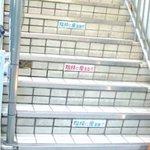 大船ホルモン - 階段「ここに座るな」
