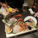 北海道応援隊 きたいち酒場   - 漁師町の刺身三段板盛