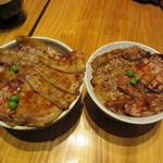 豚丼十勝 - 料理写真:左Lサイズ 右Mサイズ