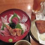 62973804 - 旬鮮魚お刺身とアジフライ