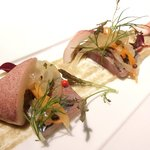 ゴーシェ - シェフのおまかせコース 7200円 の鯵とイカと野菜