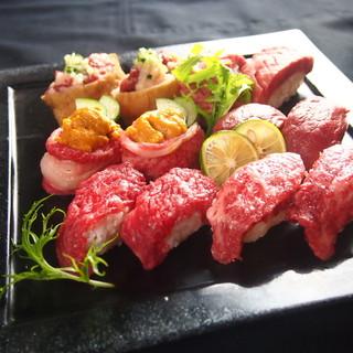 【昼飲み】期間限定☆肉の寿司の7種食べ放題¥1980円♪