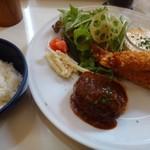 ステレオ - ◆ハンバーグ&海老フライ定食(1日限定5食:1200円:税込)・・スープ、パン又はライス、ドリンク付。