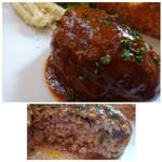 ステレオ - ◆ハンバーグは手作り感がありジューシーで美味しい。 デミグラスソースかジャポネソースを選べますので、デミにしましたが、いいお味でした。