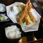 わらべ菜魚洞 - エビフライ定食